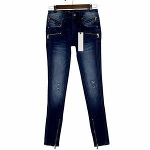 Rock Revival Camille Moto Skinny Ankle Zip Blue Distressed Jeans Size 25 x 31